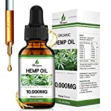 Hemp Oil 10000MG - Natural Hemp Extract - Rich in Omega 3-6-9 & Vitamin C-E, Vegan Friendly