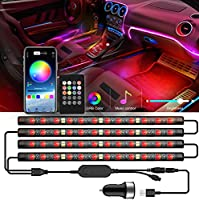 ROMALL Auto LED Innenbeleuchtung Atmosphäre Licht 48 LED Ambientebeleuchtung,RGB Auto Innenraumbeleuchtung mit APP...