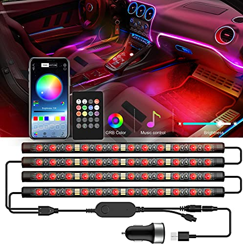 ROMALL Auto LED Innenbeleuchtung Atmosphäre Licht 48 LED Ambientebeleuchtung,RGB Auto Innenraumbeleuchtung mit APP Control & Remote Control,USB-Anschluss Autoladegerät Lichtleiste,DC 12V(Schwarz)