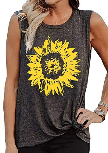 LOTUCY Sunflower Tank Tops Women Sunflower Print Vest Sleeveless T-Shirt Teen Girls Funny Graphic Tee Casual Vacation Shirt Grey