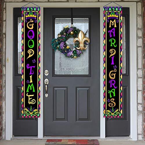 CROWNED BEAUTY Mardi Gras segno portico porta anteriore Good Times appeso striscione per cortile rustico grasso martedì tema festa decorazione CS007-12