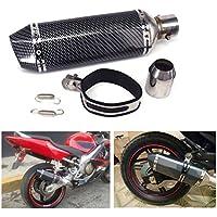 "JFG RACING Universal 1.5-2 ""Slip de admisión en silenciador de escape con DB Killer extraíble para Street Bike Scooter de motocicleta - Color de fibra de carbono"