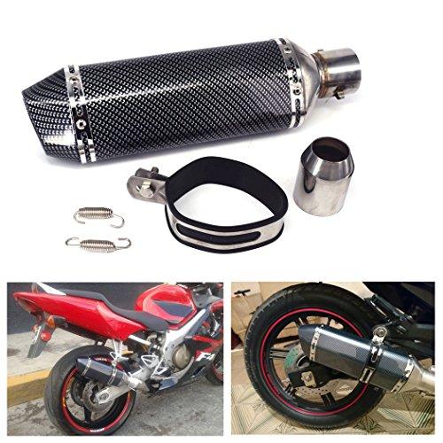 "JFG RACING Universal 1.5-2\""Slip de admisión en silenciador de Escape con DB Killer extraíble para Street Bike Scooter de Motocicleta - Color de Fibra de Carbono"