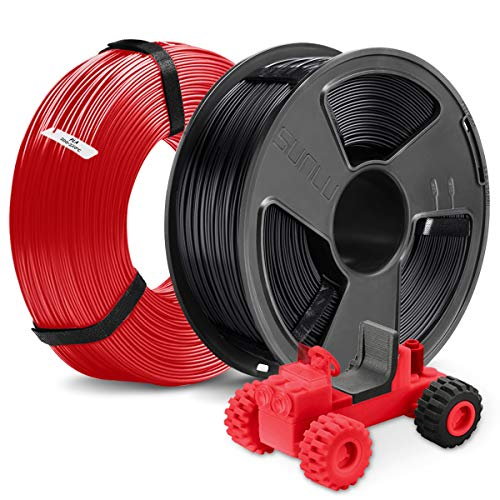 3D Printer PLA Filament 1.75, SUNLU 2 Colors PLA 1.75mm of MasterSpool, Fit FDM 3D Printer, 1KG Spool, Pack of 2, Dimensional Accuracy +/- 0.02 mm, PLA Black+Red