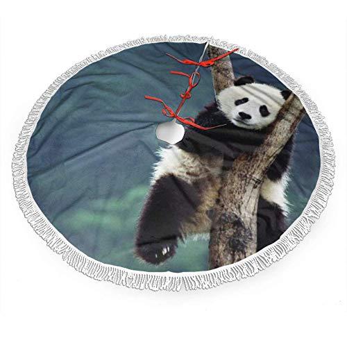 shenguang Falda de árbol de Navidad con Encaje con Flecos Blancos de 36 ', Lindo patrón de Panda en árboles...