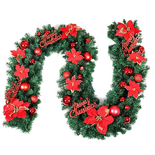 Weihnachtsgirlande, künstliche Tannengirlande mit Blumen und Glocken Innen und Außen deko für Weihnachten Party besondere Ferien