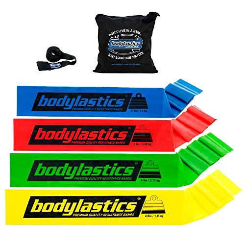 bodylastics Premium Flat Resistance Bands Set. Includes 4 Flat Resistance Bands, Door Anchor, Carry Bag.