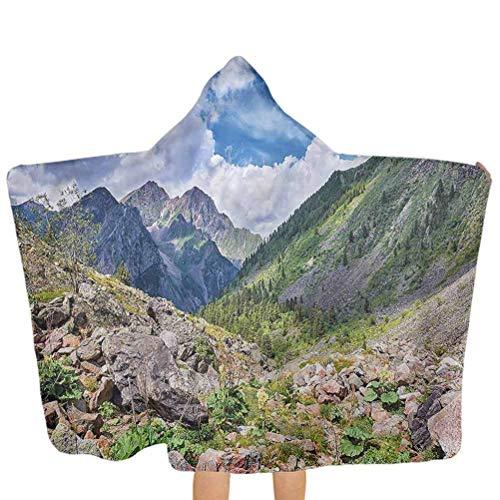 ZHSL Kapuzen Baby Handtuch Landschaft, Mountain Wild Rhabarber Soft Strandtuch Ultra Soft, 100% Baumwolle, Super Absorbent 51,5x31,8 Zoll