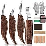 Set di 13 coltelli da intaglio in legno con pietre abrasive, professionali per intaglio del legno, set di coltelli da intaglio per principianti e professionisti con guanti resistenti al taglio