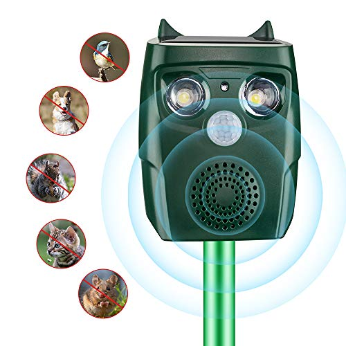 ultpeak Ultrasonic Pet Animal Device, Rechargeable Waterproof Outdoor Solar and USB Adapter Charge Ultrasonic Animal Control, Garden Use Flashing Cats Dogs Squirrel Birds etc Pest Device