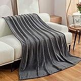 Cozy Bliss Plush Blanket Herringbone Pattern Super Soft Cozy Luxury Plush Throw Blanket Fluffy Anti-Static 320gsm Textured Chevron Blanket for Sofa Bed Travel(Grey, Queen 90'x 90')