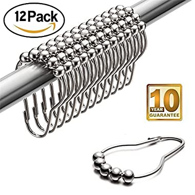 LeHom Shower Curtain Hooks Rings Chrome Metal, 12 Piece Set Stainless Steel Rust Resistance For Bathroom Shower Curtain Rod, Cute Cucurbit Shape