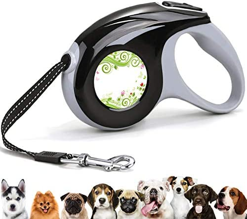 Retractable 360 Tangle Free Pet Walking Leash Colorful Flowers Green Vines and Moth 10 ft Leash product image