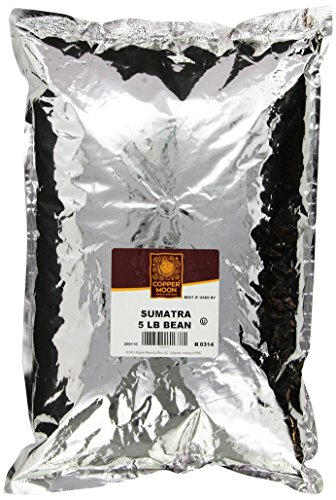 Copper Moon Sumatra, Whole Bean Coffee, 5 Pound Bag, Dark Roast Coffee with Smoothly Bold, Earthy Flavors, and Herbal Notes