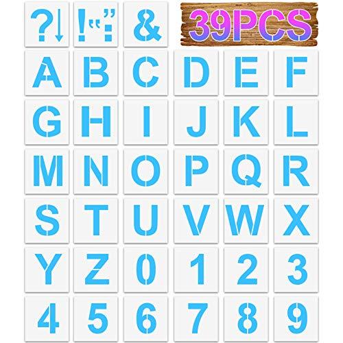 SwirlColor Stencil Lettere Numeri Riutilizzabile Vuoto Alfabeto Stencil Numero Modello per Fai da Te Pittura Artigianale Apprendimento della Scrittura 39 Pezzi