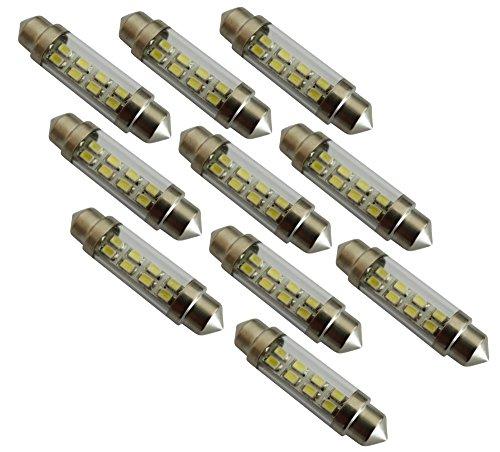 AERZETIX: 10x Ampoule veilleuses C5W 12V 8LED SMD Blanc Effet xénon 41mm éclairage intérieur Plaque d'immatriculation seuils de Porte plafonnier Pieds Lecteur de Carte Coffre Compartiment Moteur