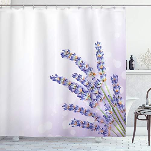 ABAKUHAUS Lavendel Duschvorhang, Frischer Kraut-Betrieb Posy, mit 12 Ringe Set Wasserdicht Stielvoll Modern Farbfest & Schimmel Resistent, 175x180 cm, Lavendel
