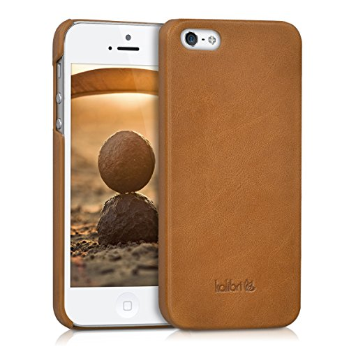 kalibri Case for Apple iPhone SE / 5 / 5S - Smooth Genuine Leather Hard Case Anti Slip Protective Back Cover - Cognac