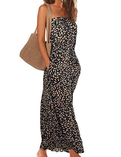 SEBOWEL Damen Maxikleid Sommer Boho Kleider Lang Bandeau Ärmelloses Sommerkleid Strandkleider Elegante Freizeitkleid CocktailKleider Abendkleid (M, Schwarz)