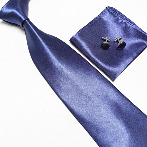 Cravate + Pochette + Bouton de Manchettes Satinée - Bleu Nuit - Neuf