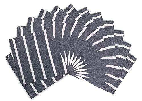 Encasa Homes Eettafel Servetten 12 stuks Set van Large 43 x 43 cm (17 x 17 inch) - Roma Navy Blue - Absorberende Heavy Cotton Party Fabric Machine Wasbaar voor Home Restaurant & Hotel