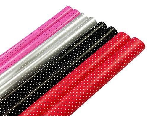 Geschenkpapier Geschenkverpackung Papier Punkte 8 Rollen 2 m x 70cm Geburtstagspapier Dot Style Gepunktet Schwarz Pink Rot Silber für Ostern Taufe Hochzeit Xmas Geburtstag