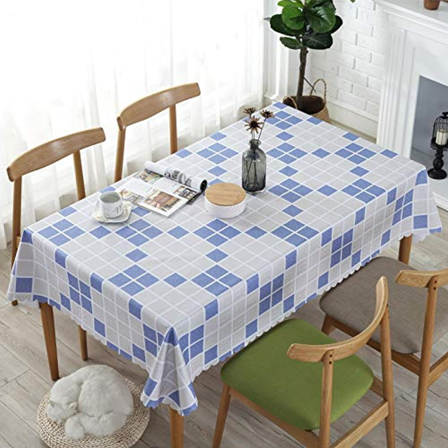 Creek Ywh European coffee table dining tablecloth tablecloth fabric plastic tablecloth pad waterproof antiscalding oilproof rectangular simple, mosaic bluee, 110160