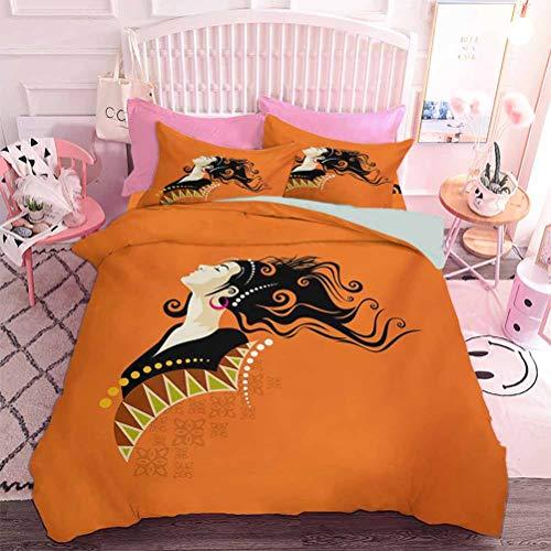 Juego de edredón acolchado para mujer joven con detalles en pelo rizado naranja y pendientes (3 piezas, tamaño California king), incluye 2 fundas de almohada