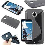 ebestStar - Funda Compatible con Motorola Nexus 6, Nexus X Carcasa Gel Silicona Gel TPU Motivo S-línea, S-Line Case Cover, Negro [Aparato: 82.98 x 159.26 x10.06mm, 5.96'']