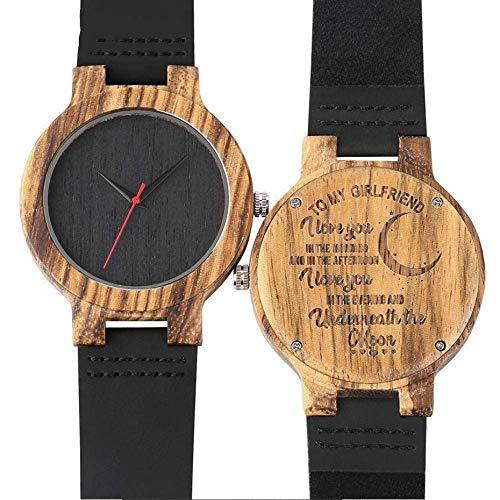 XYSQWZ Reloj De Madera Relojes De Madera Personalizados A Mi Novia Te Amo Correa De Cuero Única Reloj De Pulsera De Madera Natural Regalos De Recuerdo Personalizados