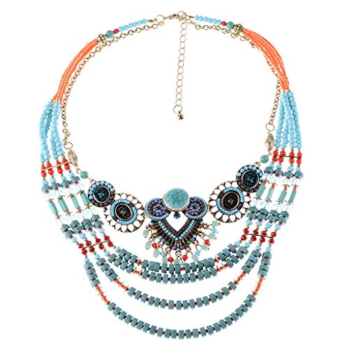 jieGorge Necklaces & Pendants, Retro Boho Owl Bead Necklace Handmade Beaded Necklace Ladies Jewelry, Jewelry for Women Gifts (Multicolor)