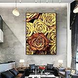 SADHAF Jaune Rose Peinture Affiche Et Imprimés Floraux sur La Toile pour La Décoration Intérieure Peintures Murales A5 60x90 cm