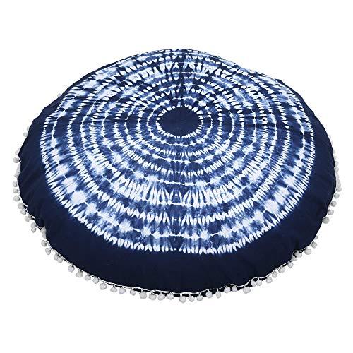 Funda de cojín de Piso Redondo - Fundas de cojín de algodón Tie Dye Azul Cojines Shibori Cojines de meditación de Suelo Redondo Indio Bohemio Boho 32 Pulgadas