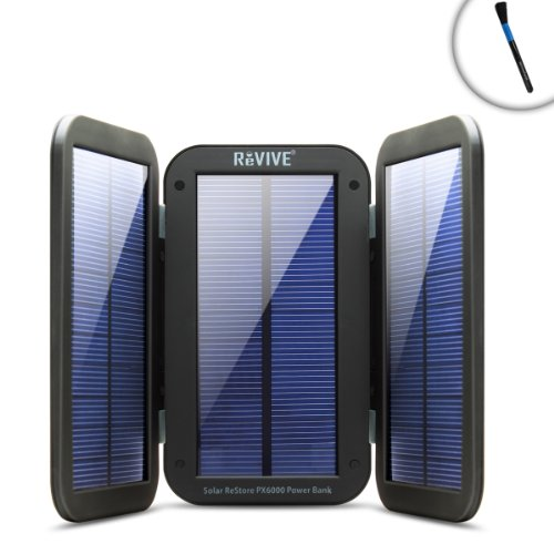 REVIVE Restore PX6000 Premium Solar Charger & 6000mAh Battery Pack with Folding Design & Built-in Kickstand – Perfect for Sailing, Cruising or Relaxing on The PierIncludes Cleaning Brush