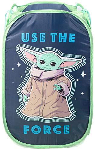 Jay Franco Star Wars The Mandalorian The Child Pop Up Hamper - Mesh Laundry BasketBag with Durable Handles - Features Baby Yoda Official Star Wars Product