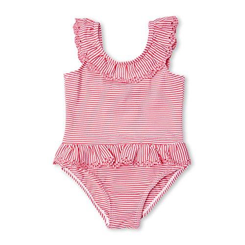 7-Mi 2T kleine Mädchen gekräuselte rosafarbene gestreifte Badeanzüge Einteilige Bikini Badebekleidung
