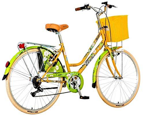 breluxx® 26 Zoll Damenfahrrad Venera Fashion Secret Bamboo Citybike Korb + Licht Retro Damenrad, 6 Gang Shimano, weiße Reifen