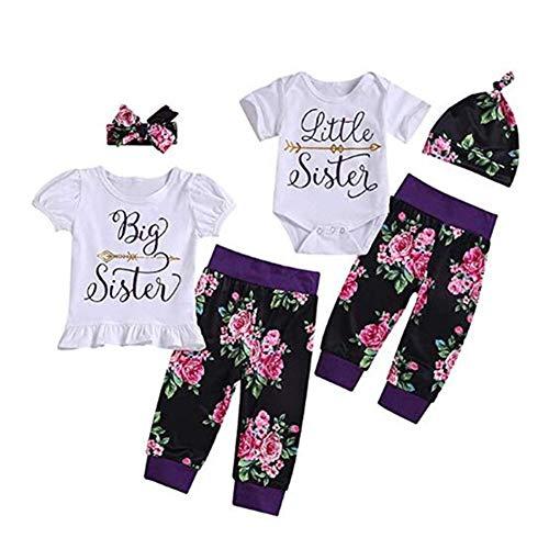 Baby Mädchen Schwester passende Familie Kleidung Kurzarm Strampler + Floral Pants + Stirnband Outfits Set (4-5 Jahre, Big Sister)