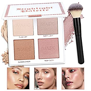 CCbeauty 4 Color Highlighter Makeup Palette with Powder Brush Shimmer Bronzers Contour Shadow Illuminating Highlight Blush Palette Cheek Cosmetic Kit,Pearl