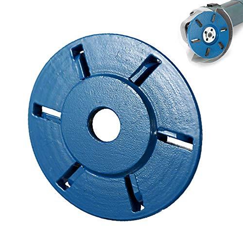 Disco de tallado de madera de seis dientes con diámetro de 90 mm y orificio de 16 mm para amoladora angular (azul, dientes planos)