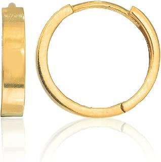 14k Real Gold Tubular High Polished Huggie Hoops Earrings 2x11 Mm