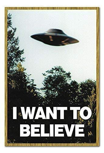 I Want to Believe X-Files UFO Poster Magnettafel Eichenholz-Rahmen, 96,5x 66cm (ca. 96,5x 66cm)