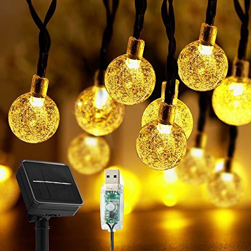Cadena de luces solares para exterior, 50 ledes, 8 modos, bolas de cristal solar impermeables para exterior e interior, conector USB adicional,iluminación para terraza, fiestas (blanco cálido)