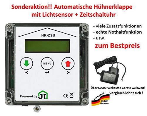 JOSTechnik JT-HK automatische Hühnerklappe mit Zeitschaltuhr + Lichtsensor + echter Nothaltefunktion