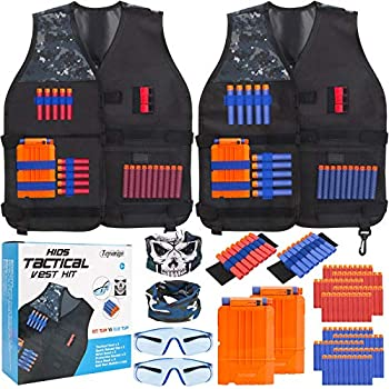 Tepsmigo 2 Pack Tactical Jacket Vest Kit with 100 Pcs Refill Darts 2 Reload Clips 2 Face Tube Masks 2 Hand Wrist Bands and 2 Protective Glasses Suit for Kids Boys Girls 5+