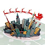 "Paper Love Skyline Santa Sleigh Pop Up Christmas Card, Handmade 3D Popup Greeting Cards for Christmas, Holiday, Xmas Gift | 5"" x 7"""