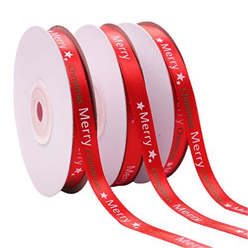 lijun 10 Rollos de 25 Yardas de Cinta roja con Letras de Feliz Navidad para decoración de Envoltorio de Regalo de Bricolaje