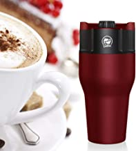 Portable USB Espresso Coffee Maker 550ml Stainless Steel Travel Coffee Mug, Compatible with Ground Coffee, Coffee Pod, Coffee Capsule (Red)