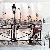 Cortina de Ducha Musical, acordeonista Tocando Paris Street Urban European Famous City Panorama Escena gráfica, Tela de Tela, Juego de decoración de baño con Ganchos, marrón melocotón