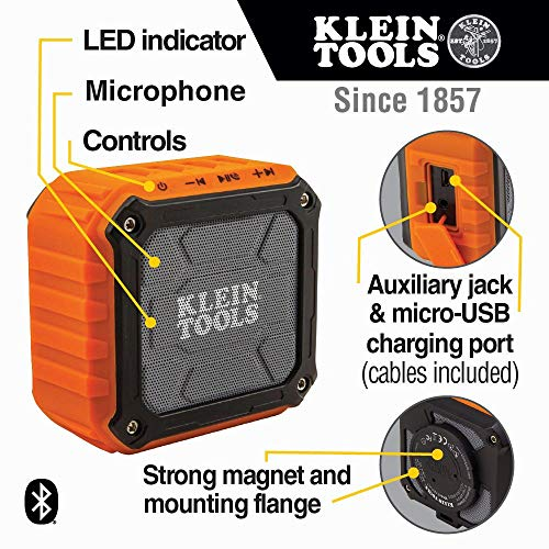 Product Image 4: Klein Tools AEPJS1 Wireless Speaker, Portable Jobsite Speaker Plays Audio and Answers Calls Hands Free, Durable Enough for Worksite Use